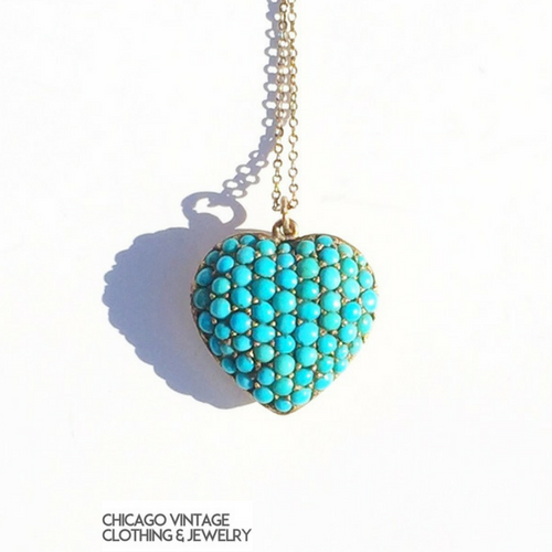 Persian Turquoise heart necklace, Victorian Mourning locket at the Chicago Vintage Clothing and Jewelry show
