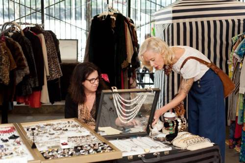 Donatella and Karyn Dethrow at the Chicago Vintage Clothing and Jewelry show