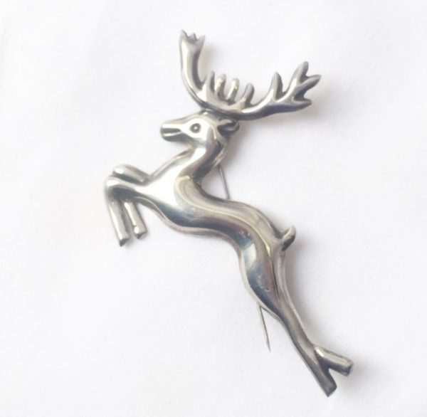 Sterling silver Taxco Reindeer pin. 1940's era. See this and more at the Chicago Vintage Clothing and Jewelry Show, Edgewater in February.