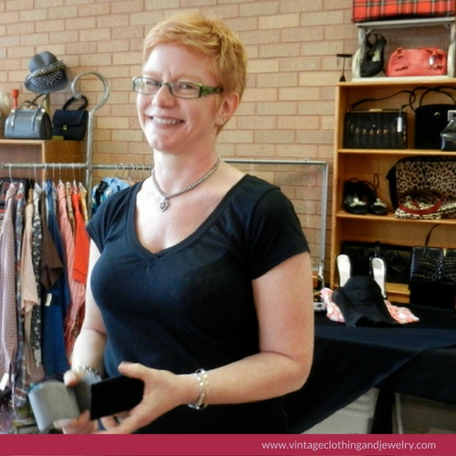 Leslie of She Comes in Colors at the Vintage Clothing and Jewelry show in February.