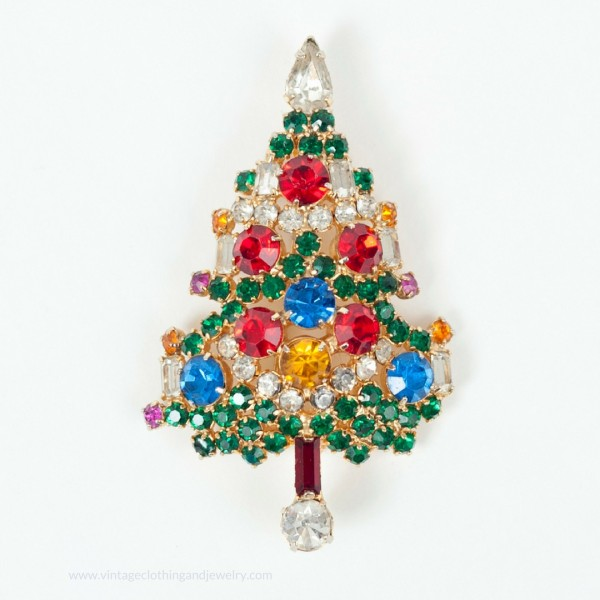 Vintage Weiss Christmas Tree pin with candles and prong set rhinestones. The Chicago Vintage Clothing and Jewelry show is coming in February in Edgewater.
