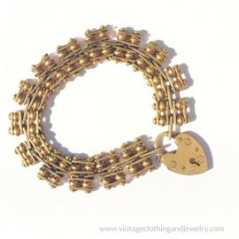 Antique jewelry, heart gate bracelet gold filled, Chicago Vintage Clothing and Jewelry