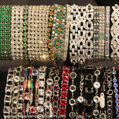 Chicago Vintage Clothing and Jewelry features all kinds of vintage bracelets. From rhinestone to Art Deco. Find them in February in Chicago.