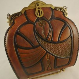 Vintage Hand Tooled Leather handbags from Edwardia at the Chicago Vintage Clothing and Jewelry Show