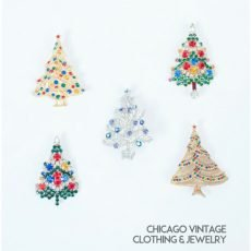Set of 5 Vintage Christmas Tree Pins