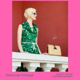 2 Dethrose Vintage green 1940s dress and wicker handbag