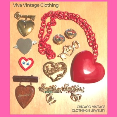 Viva Vintage Clothing collects WW2 era Sweetheart Jewelry. See her at the Chicago Vintage Clothing and Jewelry show!