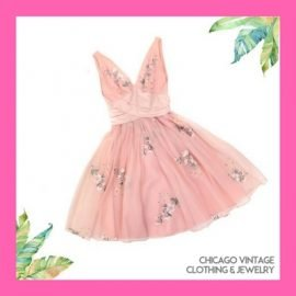 Great Lake Outfitter 1950's Pink Party dress, see them at the Chicago Vintage Clothing and Jewelry Show March 23