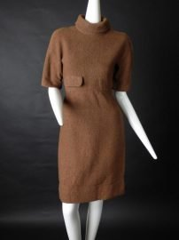 GIVENCHY HAUTE COUTURE-1960s Brown Wool Dress, Size-6 at the Chicago Vintage Clothing and Jewelry Show