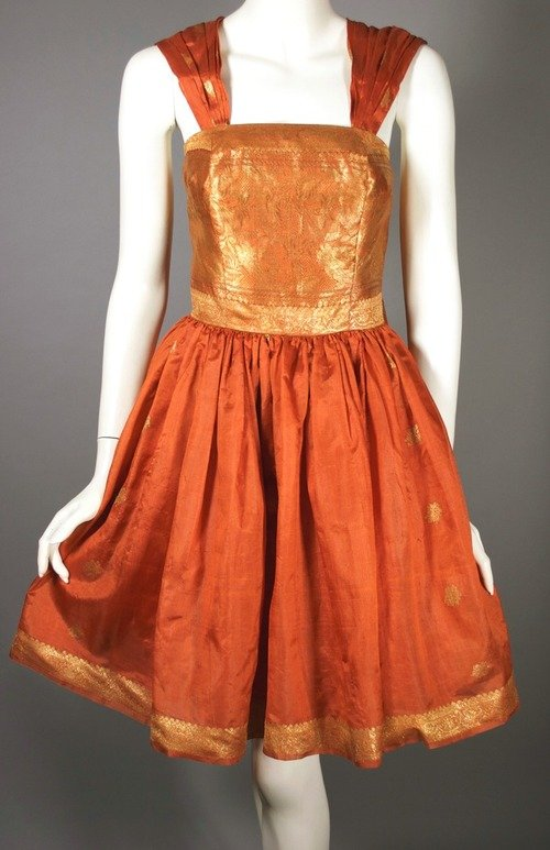 Viva Vintage Clothing Gold Sari Silk Party Dress at Chicago Vintage Clothing and Jewelry