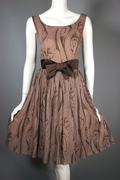 1950s dress brown Chiffon at the Chicago Vintage Clothing and Jewelry Show! Viva Vintage Clothing.