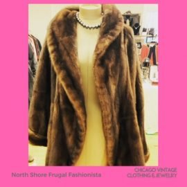 North Shore Frugal Fashionista fur coat at the Chicago Vintage Clothing and Jewelry show