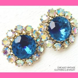 Watermelon Rhinestone earrings, Chicago Vintage Clothing and Jewelry
