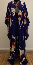 Vintage Purple Japanese Kimono Gianni Versace jacket at the Chicago Vintage Clothing and Jewelry Show