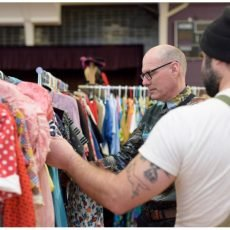 Carlos rocks it selling vintage to our great Toronto buyer at the Chicago Vintage clothing and Jewelry show.