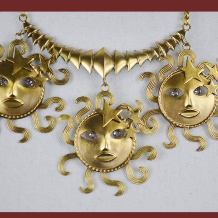 Moons Joseff of Hollywood jewelry necklace. Hollywood vintage costume jewelry.