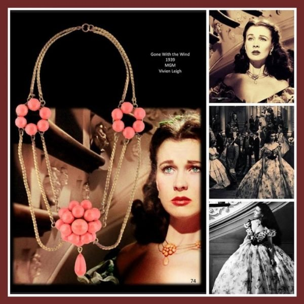 Vivien Leigh in Gone with the Wind necklAce by Joseff of Hollywood. Hollywood vintage costume jewelry.